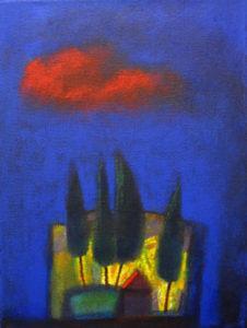 De rode wolk - acryl op doek - 40 x 30 cm - Abousleiman
