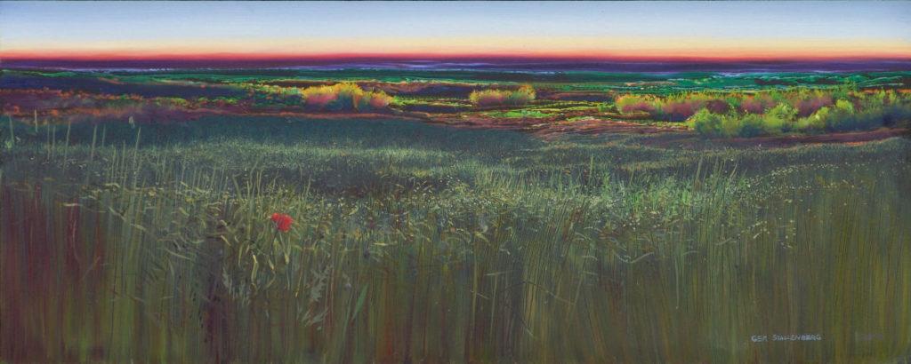 Last bloom - 50 x 20 cm - olieverf op paneel - Ger Stallenberg